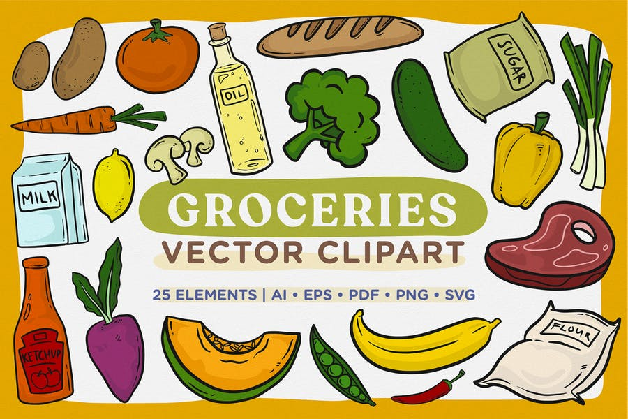 Groceries Vector Clipart Pack