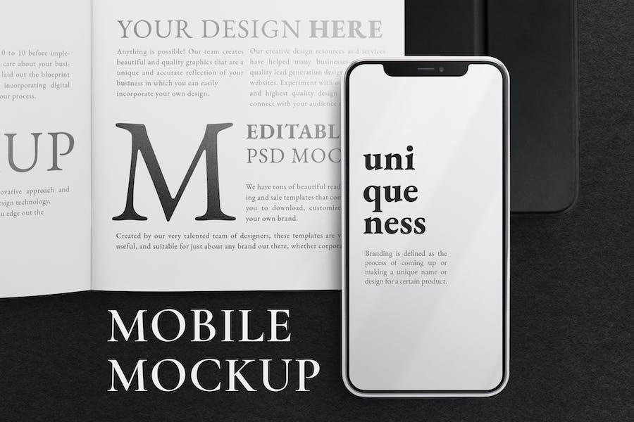 Smartphone und Buch-Mockup
