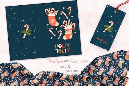 Tarjeta de calcetín de Navidad y patrón
