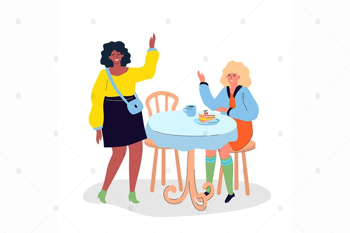 Thumbnail for Girls meeting in the cafe - flat illustration
