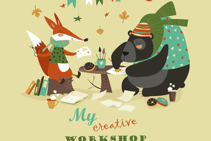 Thumbnail for Cute fox and bear at creative workshop. Vector