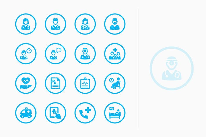 Thumbnail for Medical Services Icons Set 3 - Blue Circles
