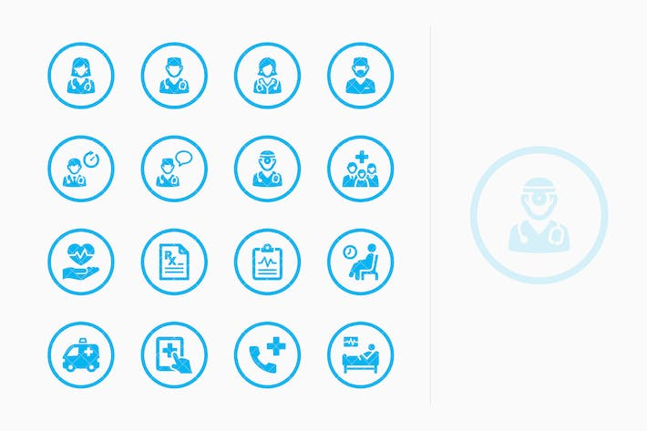 Medical Services Icons Set 3 - Blue Circles