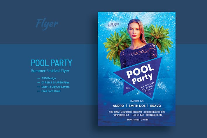 Thumbnail for Pool Party and Summer Festival Flyer V-2