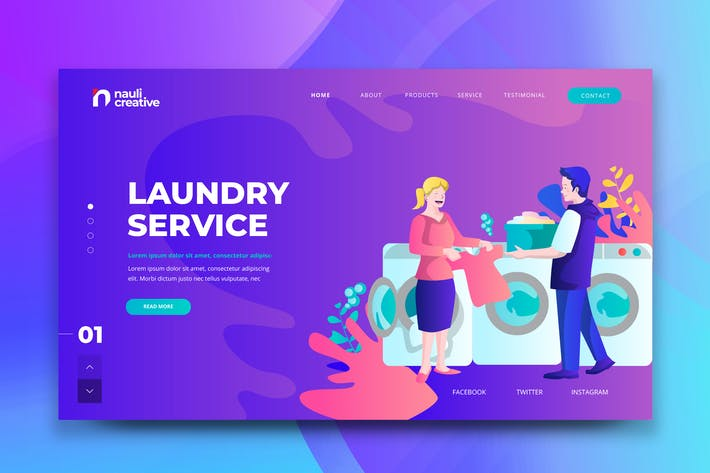 Thumbnail for Laundry Service Web PSD and AI Vector Template