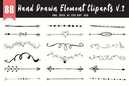 80+ handgefertigtes Designelement Cliparts Ver. 3