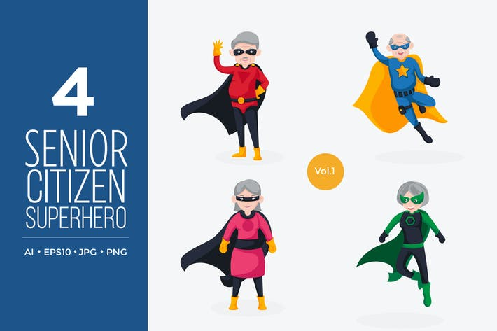 Thumbnail for Cute Senior Citizen Vector Character Set 1