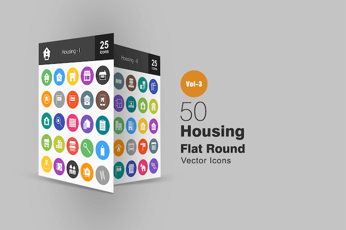 Thumbnail for 50 Housing Flat Round Icons