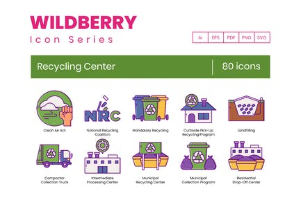 80 Recycling Center Line Icons