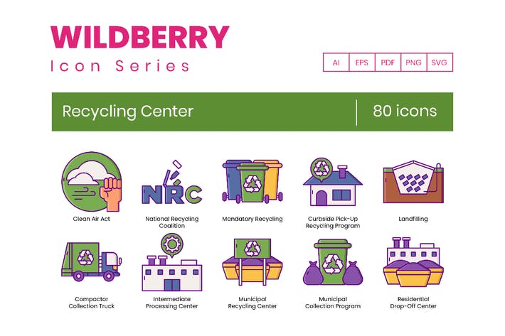 Thumbnail for 80 Recycling Center Line Icons