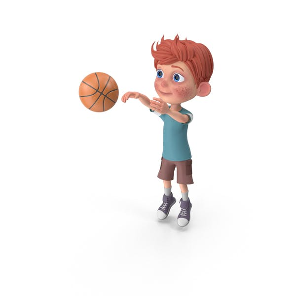 Cartoon Boy Charlie Playing Basketball