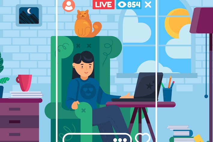 Thumbnail for Live Stream About Remote Work Illustration