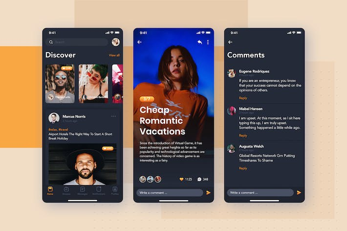 Thumbnail for Feed , Post detail - Social mobile UI concept