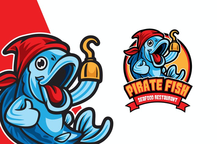Thumbnail for Pirate Fish Cartoon Logo
