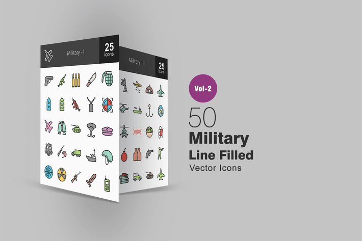 Thumbnail for 50 Military Line Filled Icons