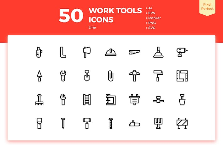 Thumbnail for 50 Work Tools Icons (Line)
