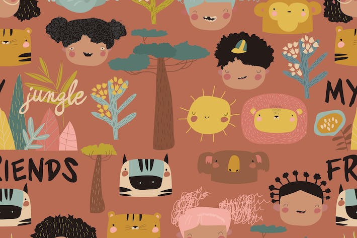 Thumbnail for Vector seamless pattern with cute kids faces
