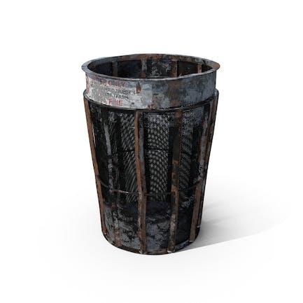 Destroyed New York Garbage Bin