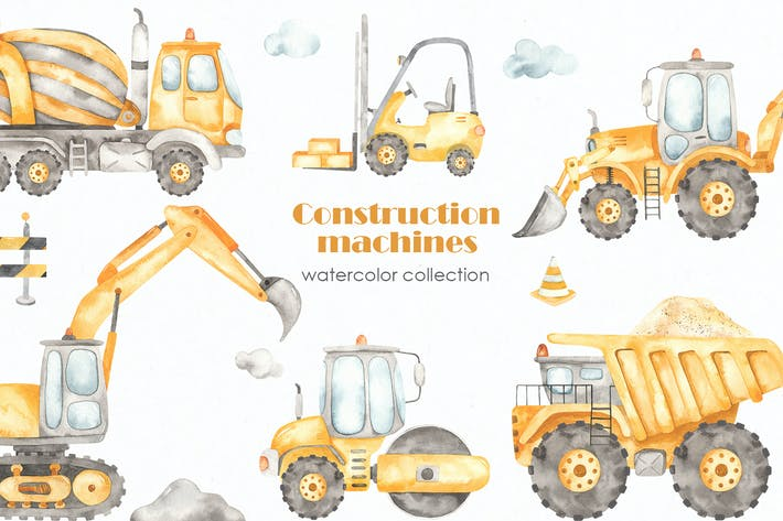 Thumbnail for Construction machines Watercolor