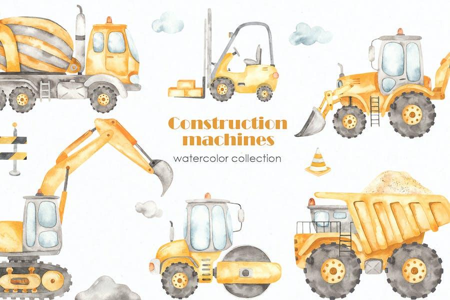 Construction machines Watercolor