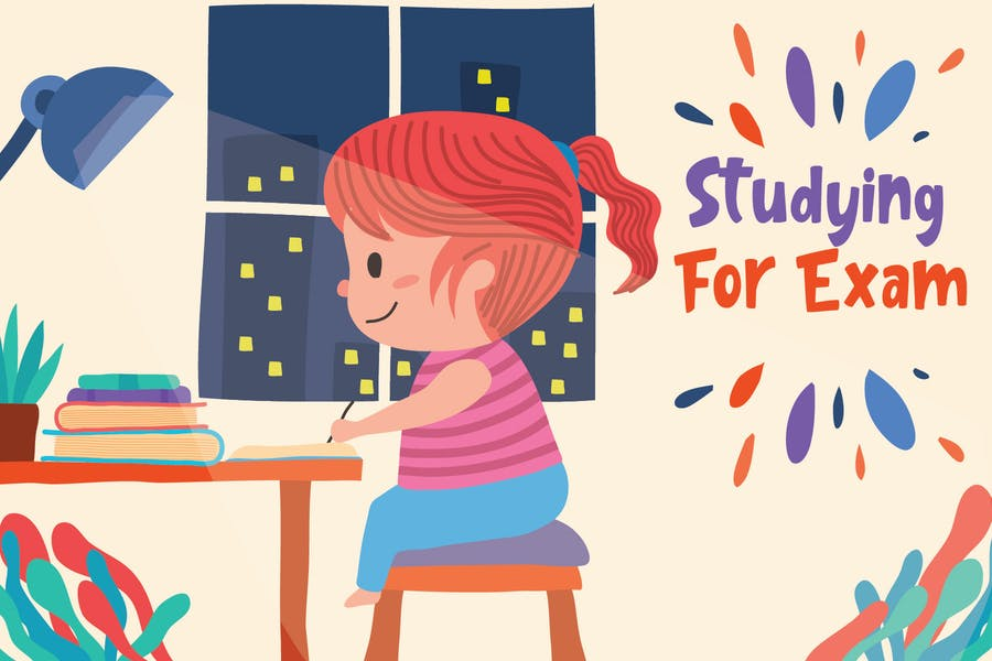 Studying For Exam - Vector Illustration