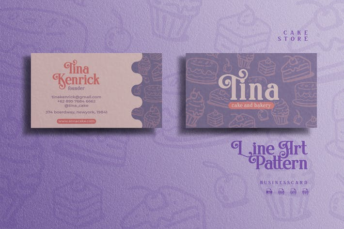 Thumbnail for Line Art Pattern Theme - Cake Store Businesscard