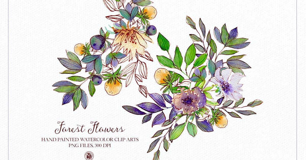 Download Forest Flowers - watercolor set by Webvilla