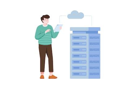 Cloud Computing Flat Illustration