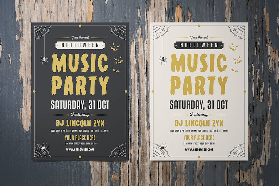 Halloween music party flyer template