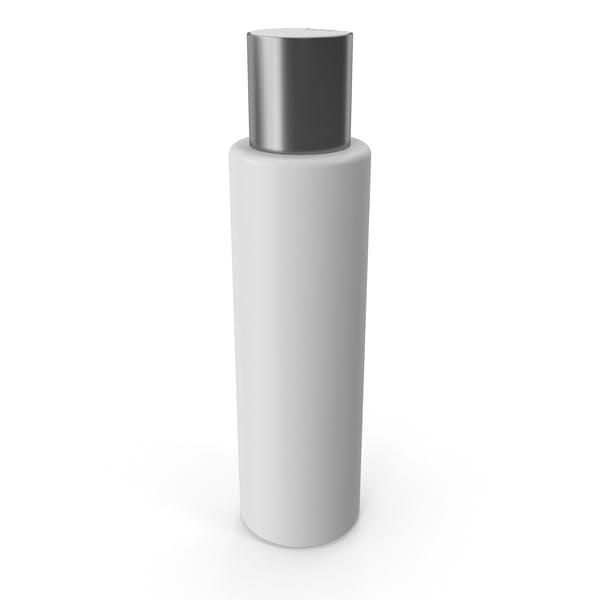 Пластиковая косметическая бутылка с серебряной крышкой