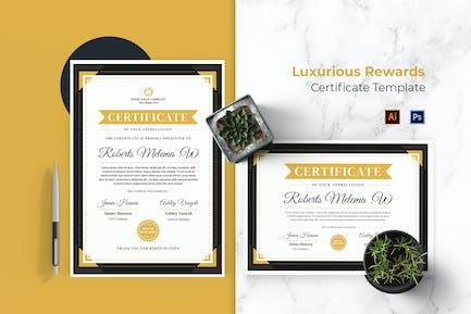 Luxurious Rewards Certificate