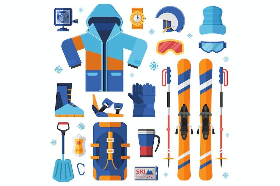 Mountain Skiing Equipment Set