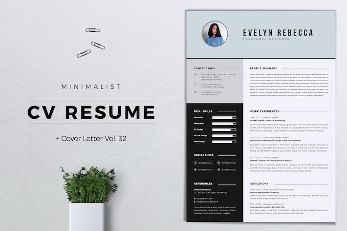 Cover Image For Minimalist CV Resume Vol. 32