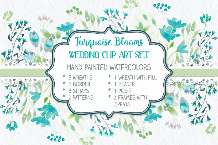 Thumbnail for Turquoise Blooms Wedding Clip Art Set