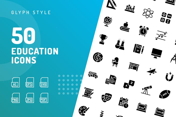 Thumbnail for Education Glyph Icons