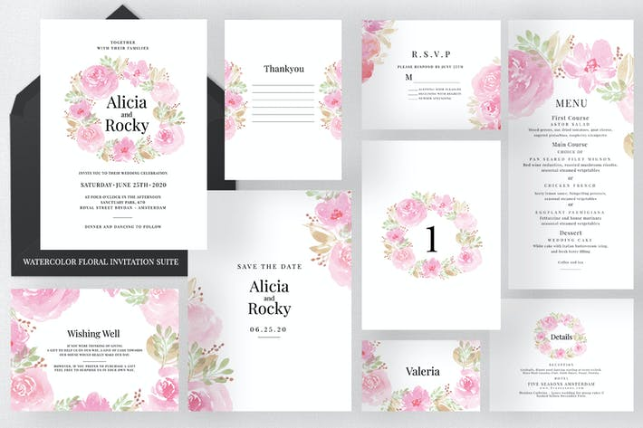 Thumbnail for Watercolour Floral Invitation Suite