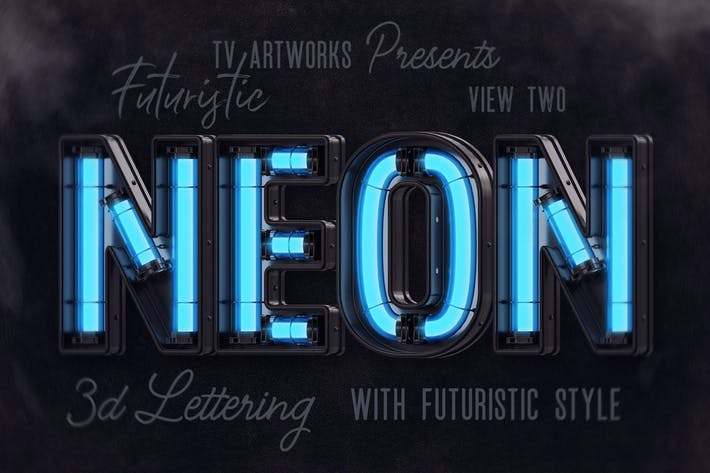 Thumbnail for Futuristic Neon 3D Lettering View 2