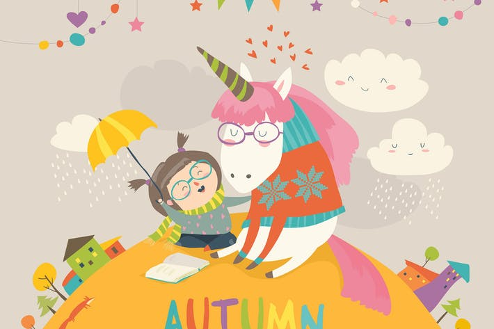 Cover Image For Cute girl hugging unicorn. Autumn wonderland.