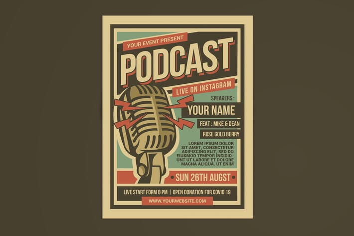Thumbnail for Podcast Retro Event Flyer