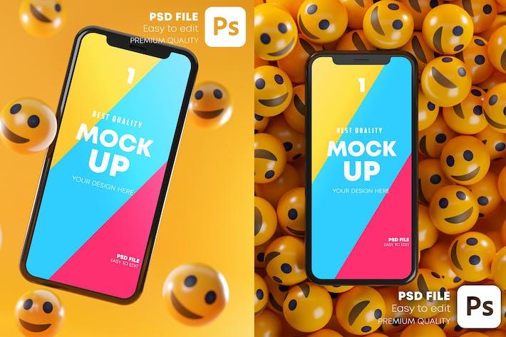 Smartphone Smile Emoticons Mockup Pack