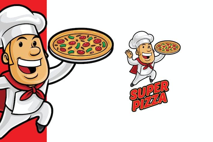 Thumbnail for Super Pizza Logo Mascot Template