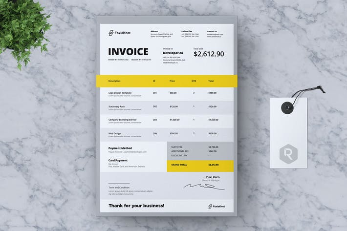 Thumbnail for FOXIEKNOT Corporate Invoice
