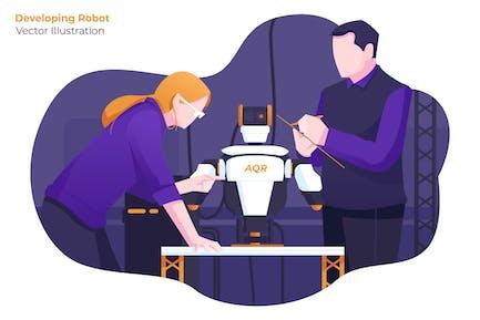 Desarrollando Robot - Ilustración Vector