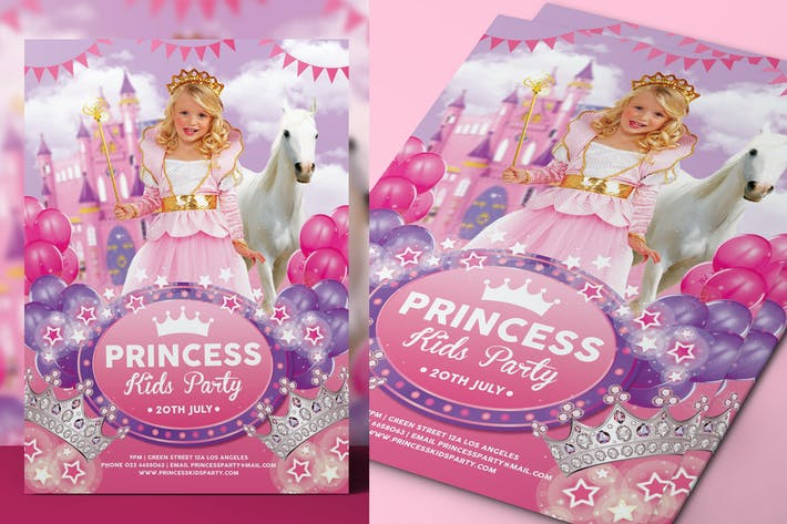 Thumbnail for Princess Kids Party Flyer