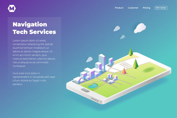 Thumbnail for Online Navigation template in isometric vector