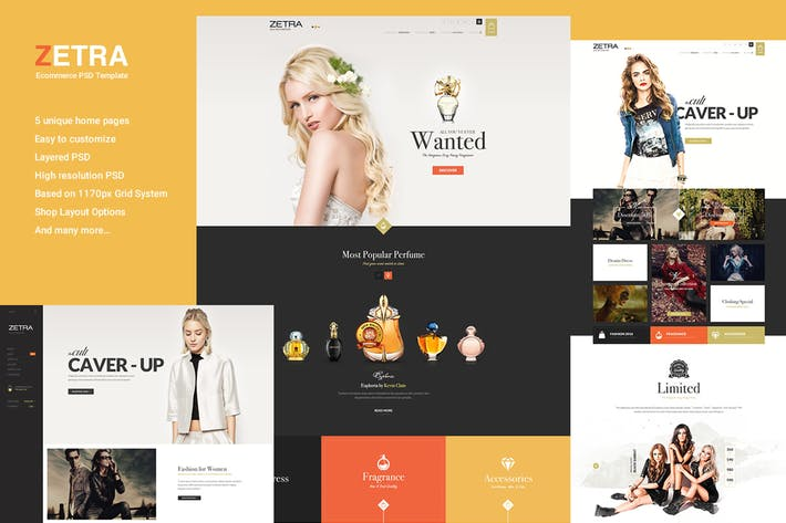 Thumbnail for Zetra - Ecommerce PSD Template