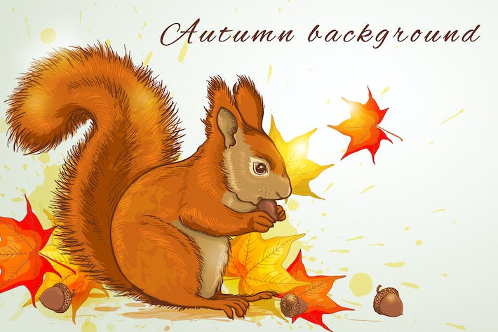 Thumbnail for Autumn Background with Squirrel