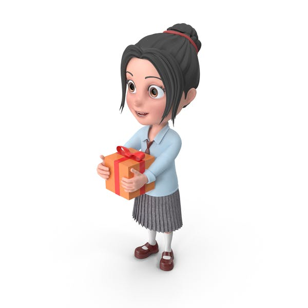 Cartoon Girl Emma Holding Present