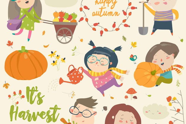 Harvesting kids set. Vector cartoon illustration