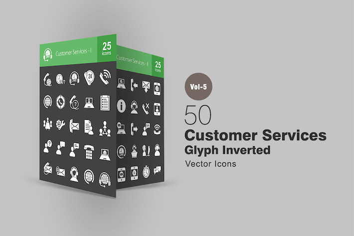 Cover Image For 50 Customer Services Glyph Inverted Icons
